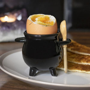 Cauldron Egg Cup W/Broom Spoon