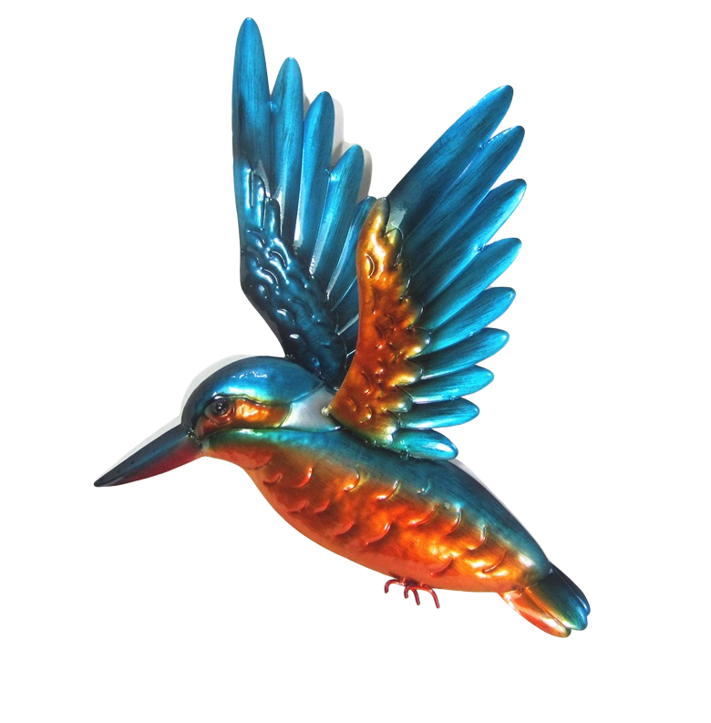 Kingfisher - Wings Up - Metal Wall Hanging