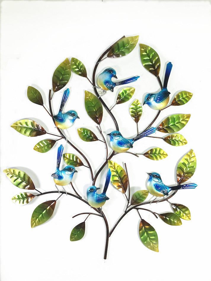 Fantails - Blue - on branches - Wall Hanging