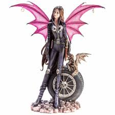 Gothic Fairy Biker with Pet Dragon