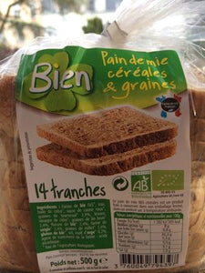 PAIN DE MIE CEREALES GRAINES - 0.5KG