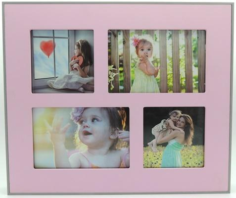 Blue/Pink Collage Frames - Pink - Wall art
