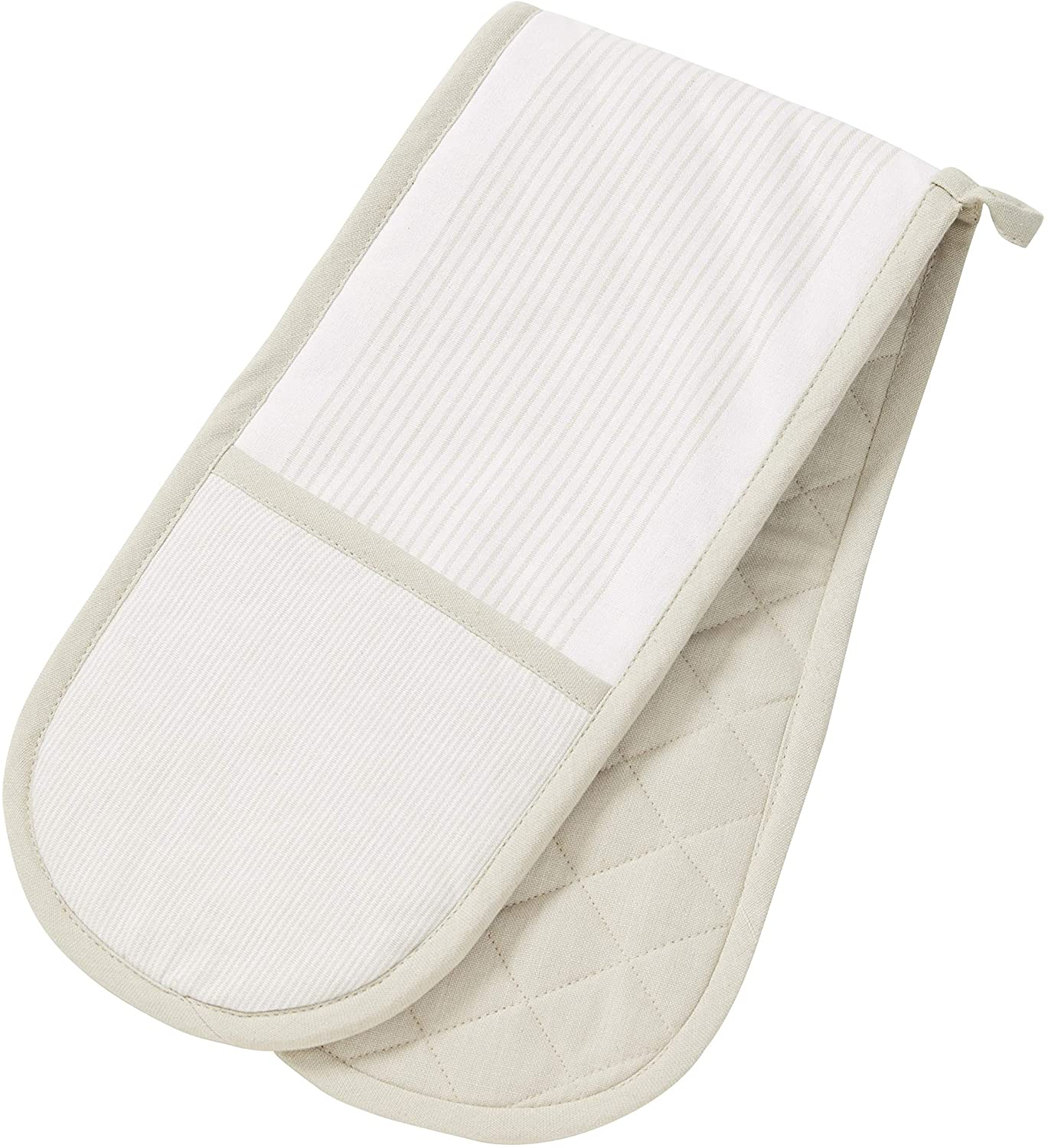 Essentials Parker Double Oven Glove White and Taupe