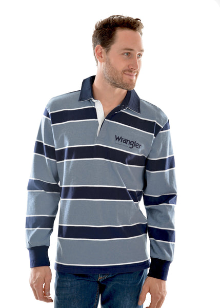 Mens Finch Stripe Rugby Denim/Marle - Jumpers