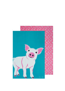 TC Piglet Tea Towel 2pk - Homewares
