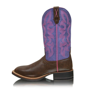 Womens Twisted X Ruff Stock Brown and Purple Western Boot -