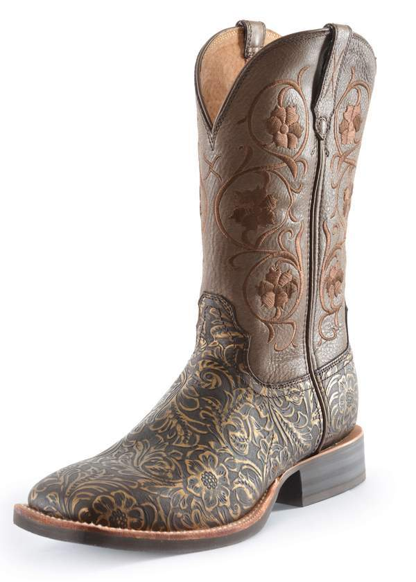 Womens Twisted X Ruff Stock Tooled/Brown Western Boot - 10 -