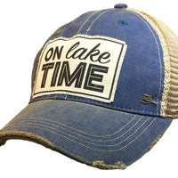 """On Lake Time"" Distressed Trucker Cap"