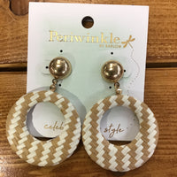 Golden studded Tan and White Hoop Earrings (Peri)