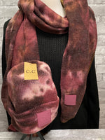 Maroon/Brown/Pink Tie Dye Scarf and Beanie (Sold Separately)