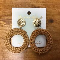 Wooden Sand Dollar earrings (Peri)