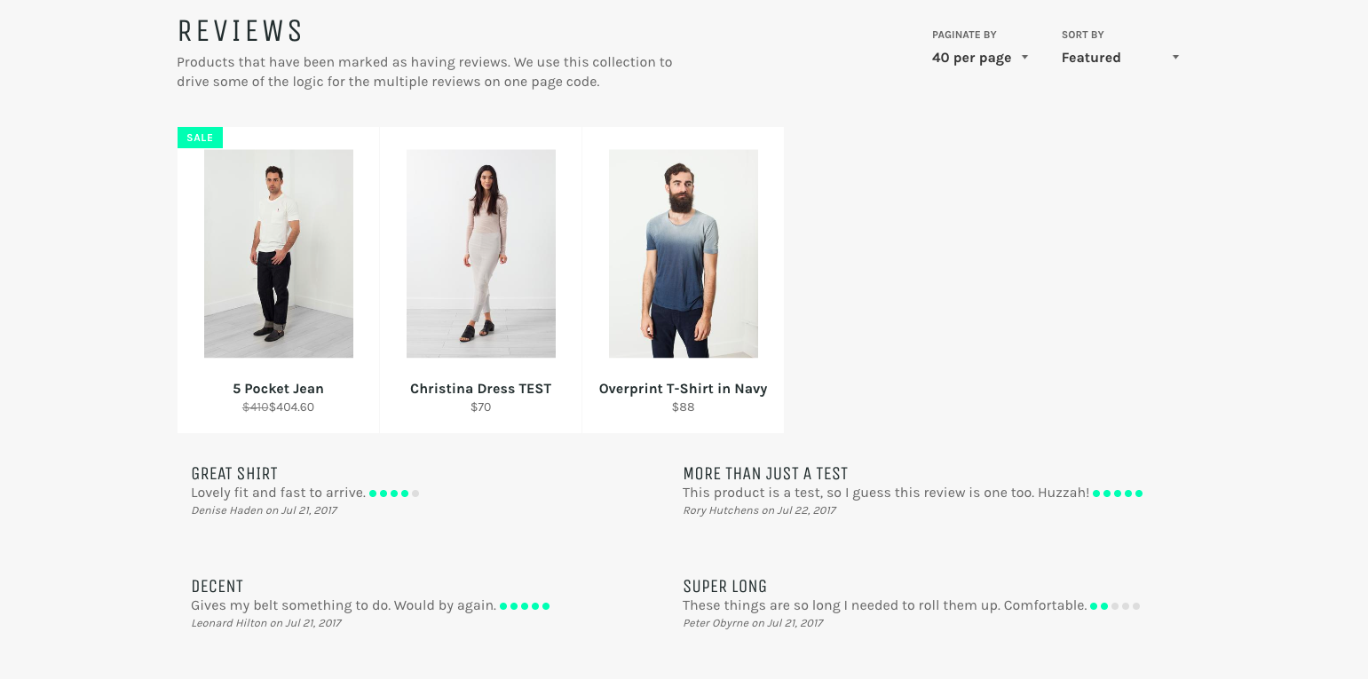 Show multiple shopify product reviews on one page – Freakdesign