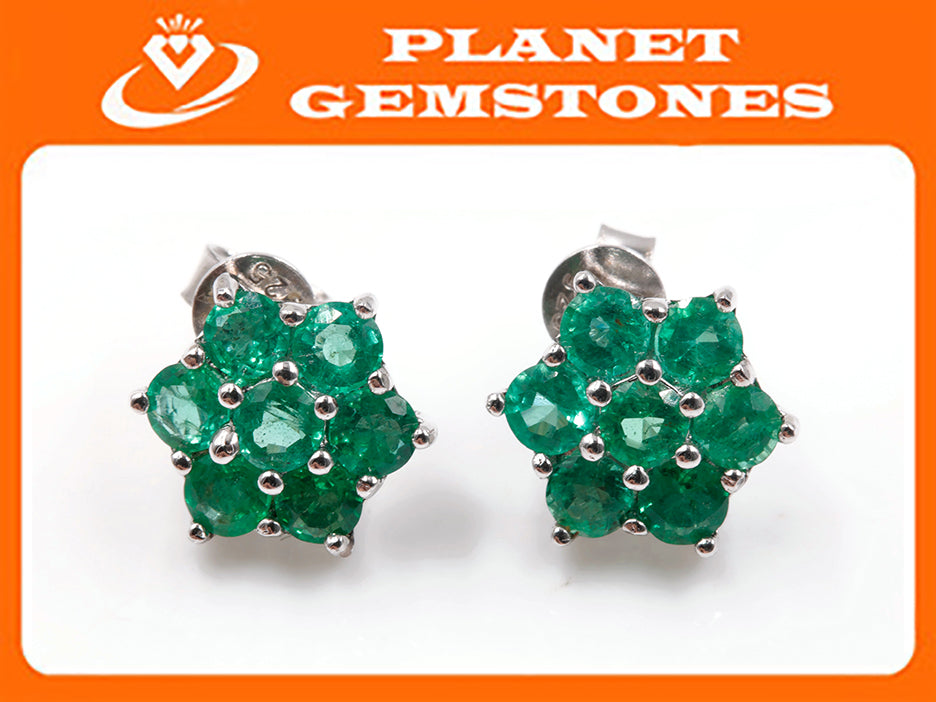 Natural Emerald Emerald Earrings Emerald Studs Zambian Emerald May Birthstone Genuine Emerald Emerald Gemstone Emerald Green SKU:6142032-Emerald-Planet Gemstones