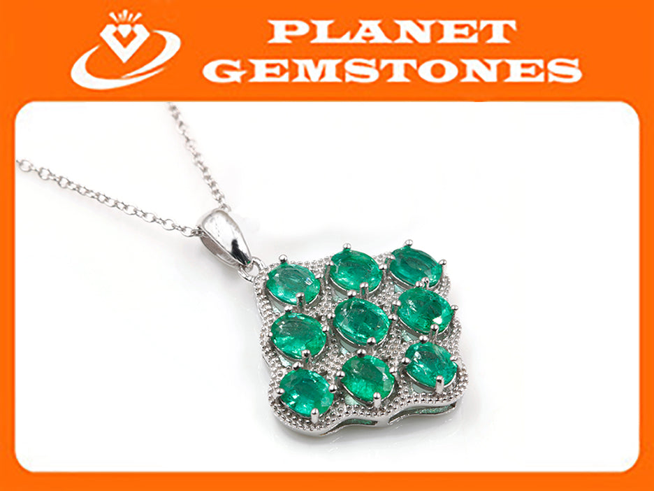 Natural Emerald Emerald Pendant Necklace SKU:6142034-Emerald-Planet Gemstones