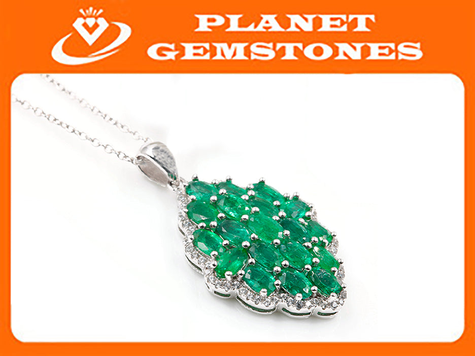 Natural Emerald Emerald Chain Emerald Pendant Zambian Emerald May Birthstone Genuine Emerald Emerald Gemstone Emerald Green SKU:6142033-Emerald-Planet Gemstones