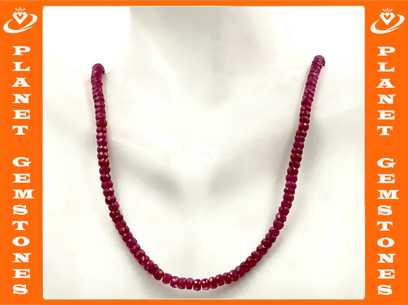 Natural Ruby Necklace Red Ruby Necklace Ruby Beads Red Gemstone beads Ruby stone beads SKU:6142173-Ruby-Planet Gemstones
