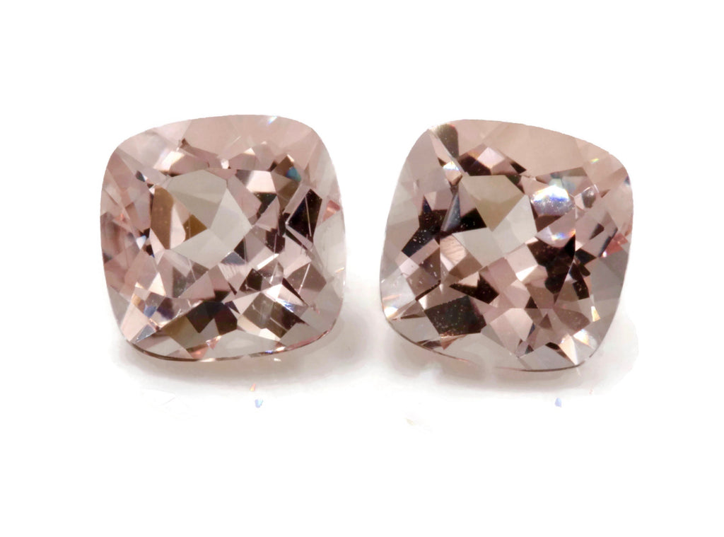 Natural Peach Pink Morganite Cushion 7mm Pair 2.8cts DIY Jewelry supplies Loose Morganite Gemstone Peach Morganite SKU:106996-Morganite-Planet Gemstones