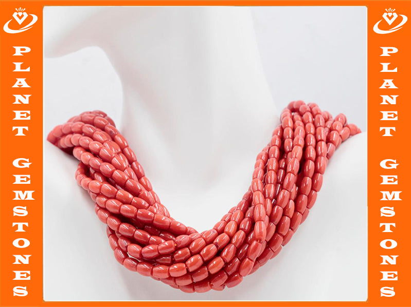 Natural Coral Beads Coral Necklace Italian Coral beads Red Coral Beads Coral Beads Red Coral Beads Coral Bead Necklace SKU: 113167-Planet Gemstones