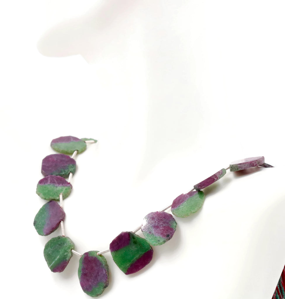 Ruby Zoisite Natural Ruby Ruby Necklace Ruby Beads Ruby July Birthstone Loose Beads Ruby Bead Necklace 4-8 Inch Strand, 14x11mm SKU:108580,108581-Planet Gemstones