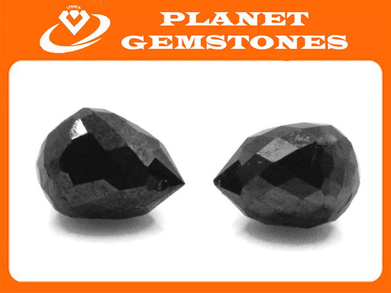 Black Diamond Diamond Briolette Black Diamond Beads Black Diamond Drops Natural Black Diamond For April Beads 4X3MM 1.26Ct PAIR-Planet Gemstones
