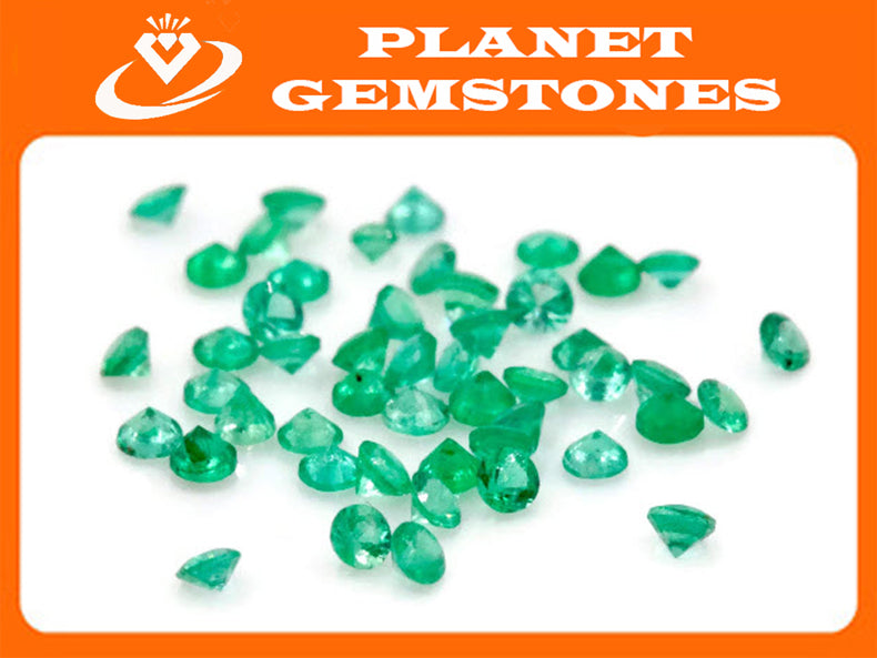 Emerald Natural Emerald May Birthstone Zambian Emerald Round Emerald Diy Jewelry Supplies Emerald Gemstone 0.05ct 1.75mm Emerald green 3PCS-Emerald-Planet Gemstones