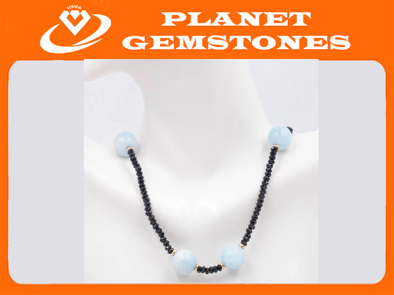 14k Natural Aquamarine Necklace with Black spinel-Aquamarine-Planet Gemstones