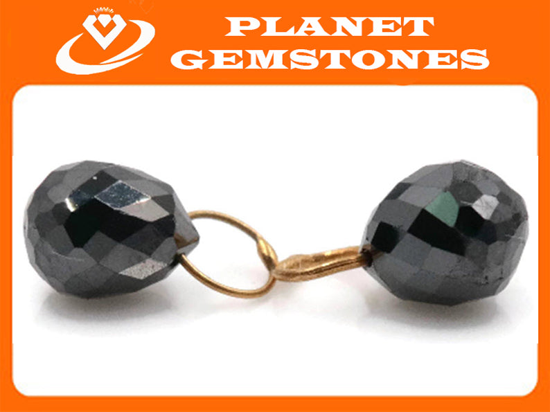 Black Diamond Diamond Briolette Black Diamond Beads Black Diamond Drops Natural Black Diamond For April Beads 18KT YG 4X3MM 1.38CT-Planet Gemstones