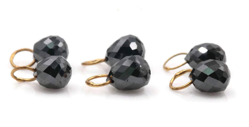 Black Diamond Diamond Briolette Black Diamond Beads Black Diamond Drops Natural Black Diamond For April Beads 18KT YG 4X3MM 0.70CT-Planet Gemstones