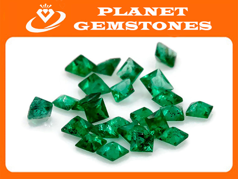 Emerald Natural Emerald May Birthstone Zambian Emerald square cut Emerald Emerald Gemstone 0.080ct 1.75mm Emerald green 3PCS-Emerald-Planet Gemstones