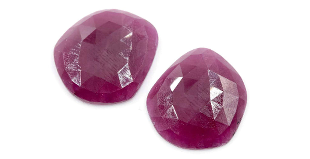 Natural Ruby DIY Jewelry Supply Ruby July Birthstone Rose Cut Ruby Gemstone Genuine Ruby Ruby pair 19x17mm Ruby Rose cut-Ruby-Planet Gemstones