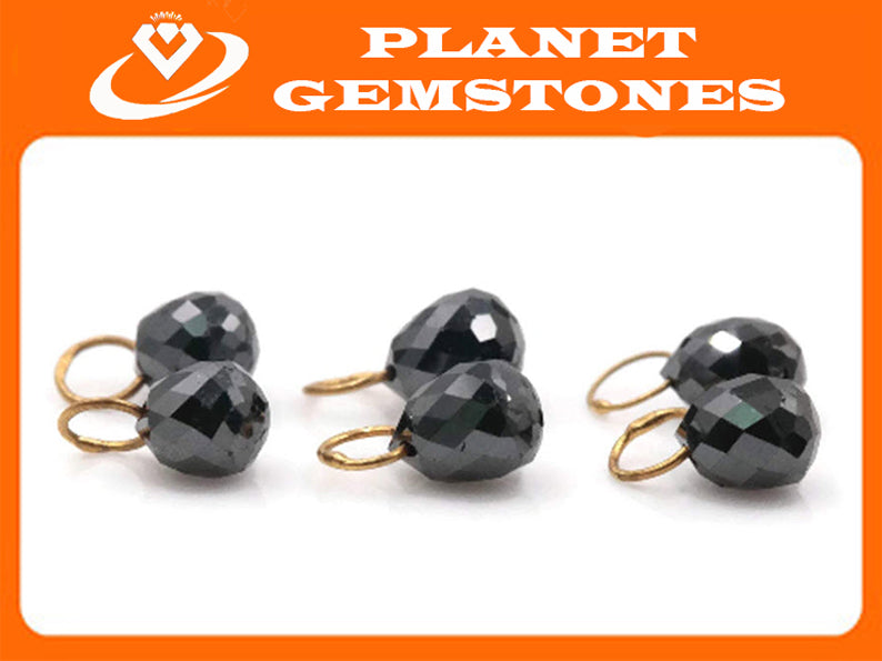 Black Diamond Diamond Briolette Black Diamond Beads Black Diamond Drops Natural Black Diamond For April Beads 18KT YG 4X3MM wt 0.44 ct-Planet Gemstones