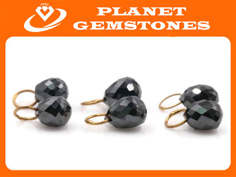 Black diamond Diamond Briolette Black Diamond Beads Black Diamond drops Natural Black Diamond For april beads 18KT YG 4X3MM 0.60CT-Planet Gemstones