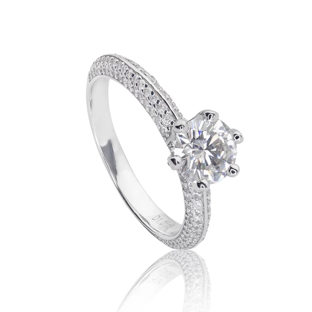 Womens Luxury halo ring with D color white jewelems diamond.-Planet Gemstones
