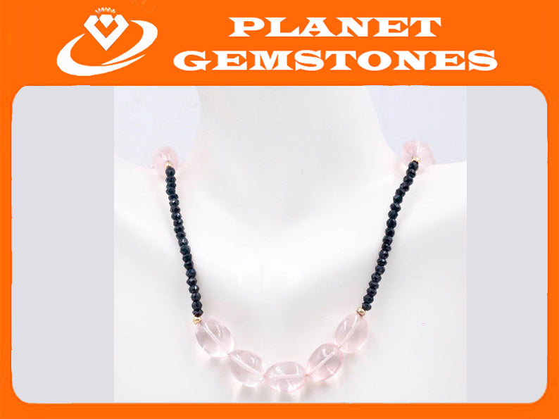 14k YG Rose Quartz and Black Spinel Smooth Nugget Necklace-Planet Gemstones