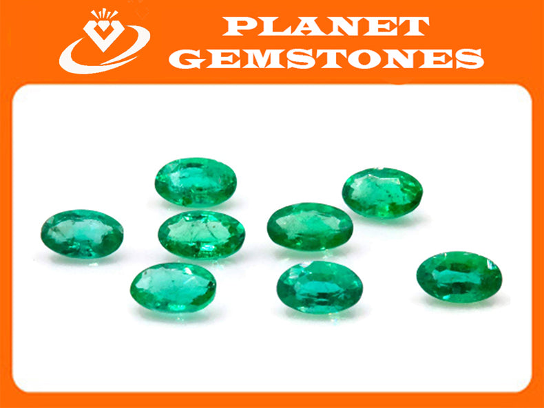 Emerald Natural Emerald May Birthstone Zambian Emerald oval Emerald Emerald green Diy Jewelry Supplies Emerald Gemstone 0.20ct 5x3mm-Emerald-Planet Gemstones
