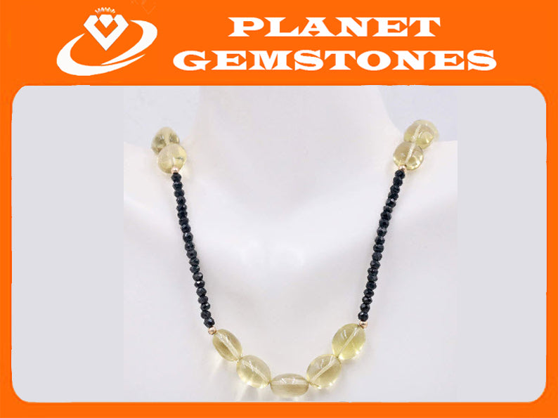 Natural Citrine Quartz Citrine Smooth beads Citrine Beads Gemstone 14k YG Lemon Citrine and Black Spinel 10x11mm 3mm 17-18 Inch-Planet Gemstones