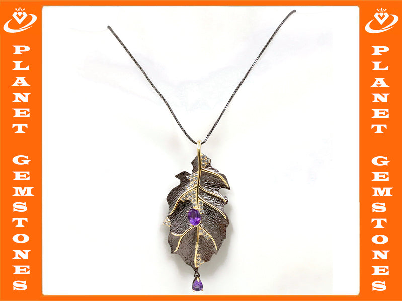 Amethyst Pendant & Brooch Amethyst pendant Amethyst brooch Natural Amethyst Genuine Amethyst Jewelry February Birthstone SKU:6142042-AMETHYST-Planet Gemstones
