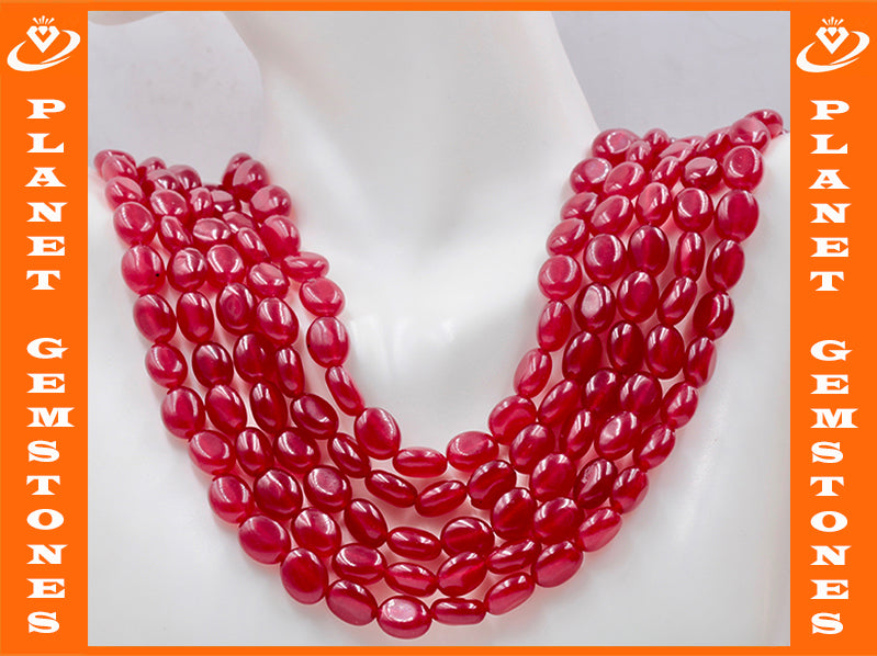 Genuine ruby beads Ruby bead necklace ruby gemstone beads ruby fuchsite beads necklace for women ruby necklace SKU: 114341,114342-Ruby-Planet Gemstones