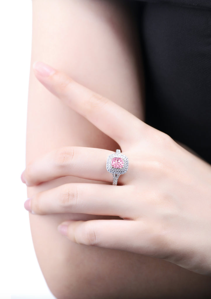 Womens Luxury halo ring with color vivid yellow , fancy pink and D white jewelems diamond.-Planet Gemstones