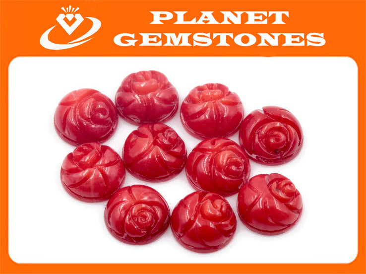Coral Rose Flower Beads Coral Beads DIY Jewelry Supply Red Coral Flowers Flat Base Beads 8mm Coral cabochon beads 10PCS set-Planet Gemstones
