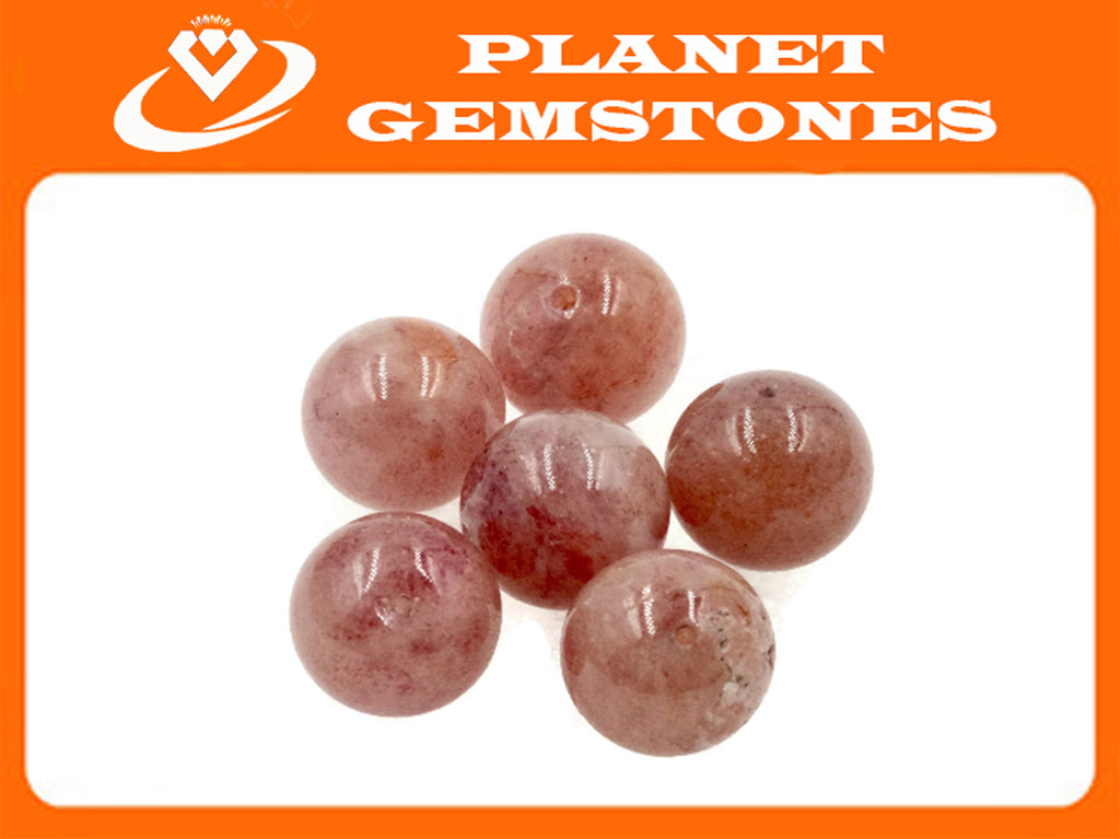 Natural Strawberry Quartz Beads RD 12mm 6pcs SET DIY Jewelry Supplies 66.3ct Agate beads-Planet Gemstones