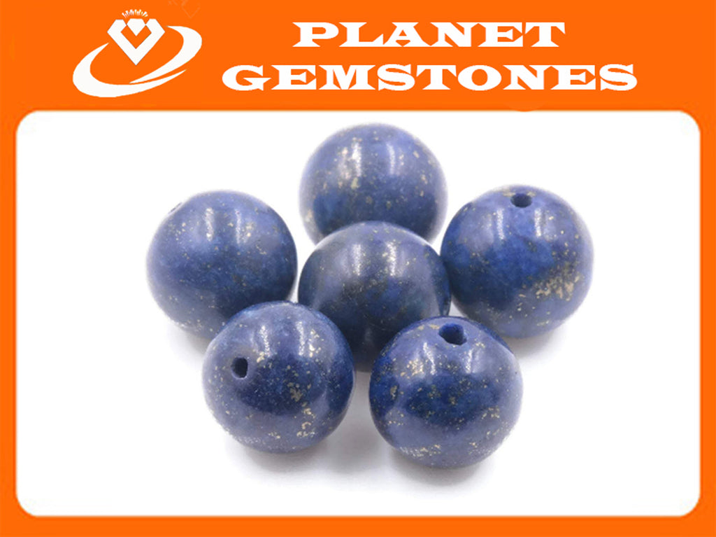Natural Lapis Beads RD 10mm, 12mm 6pcs SET DIY Jewelry Supplies 49ct, 83.9ct Agate beads-Planet Gemstones