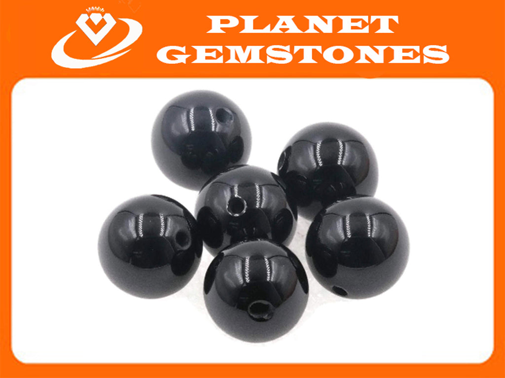 Natural Black Onyx Beads RD 13mm 6pcs SET DIY Jewelry Supplies 72ct Agate beads-Planet Gemstones