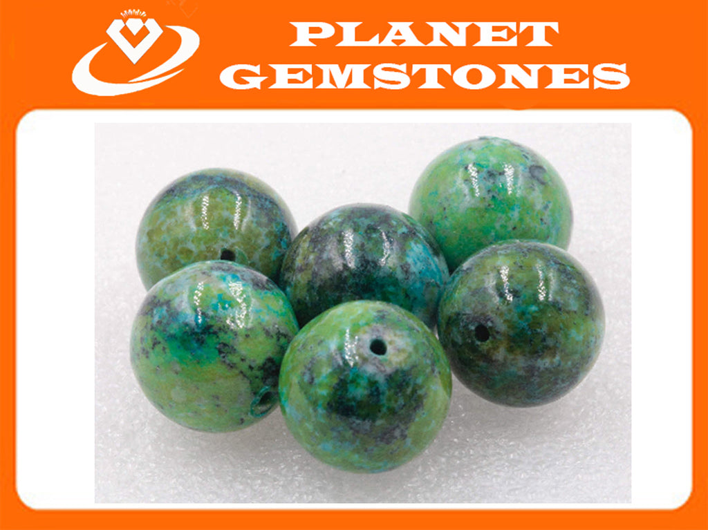 Natural Azurite Agate Beads RD 17mm 6pcs SET DIY Jewelry Supplies Agate beads-Planet Gemstones