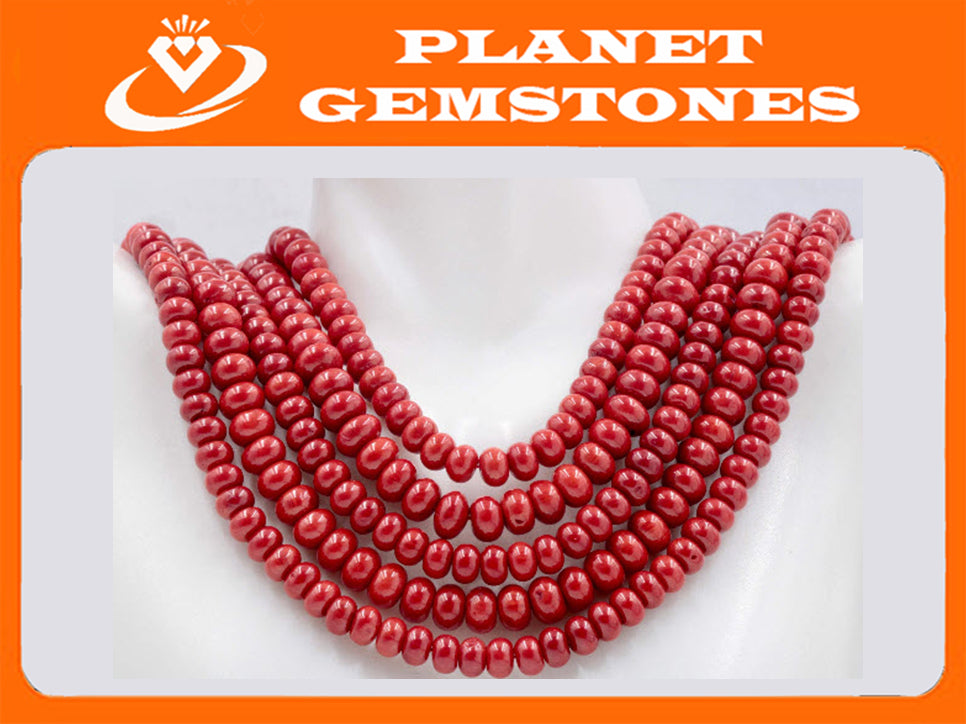 "Natural Coral Beads Coral Necklace Italian Coral beads Red Coral Beads Coral Beads Red Coral Beads Coral Bead Necklace 16"" 8x5 SKU:113152-Planet Gemstones"