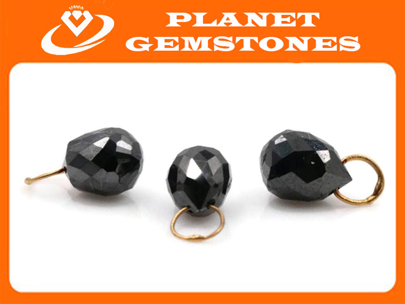 Black Diamond Diamond Briolette Black Diamond Beads Black Diamond Drops Natural Black Diamond For April Beads 18KT YG YG 5x4MM 0.85CT-Planet Gemstones