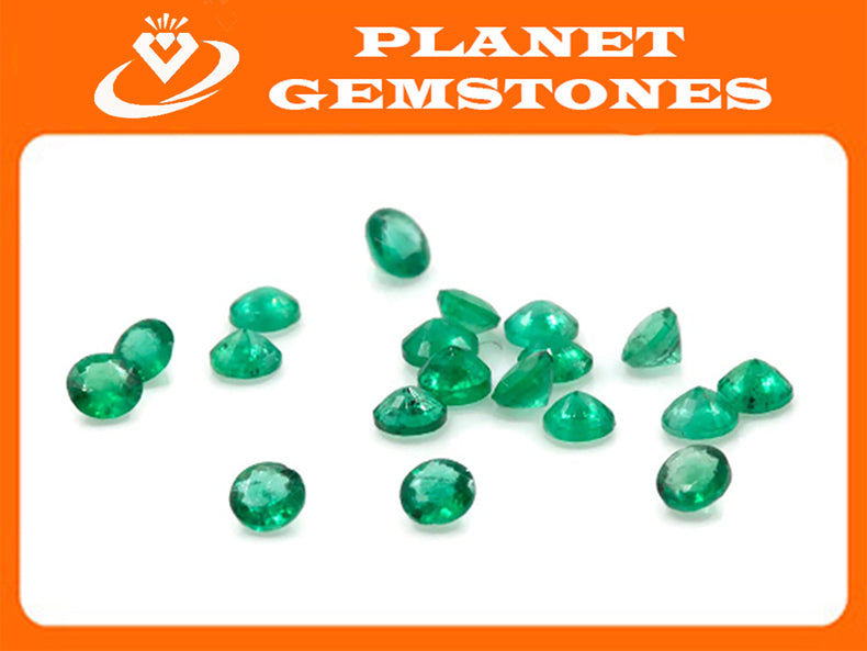 Emerald Natural Emerald May Birthstone Zambian Emerald Round Emerald Gemstone Diy Jewelry Supplies DIY Jewelry 0.03ct 2mm Emerald green-Emerald-Planet Gemstones