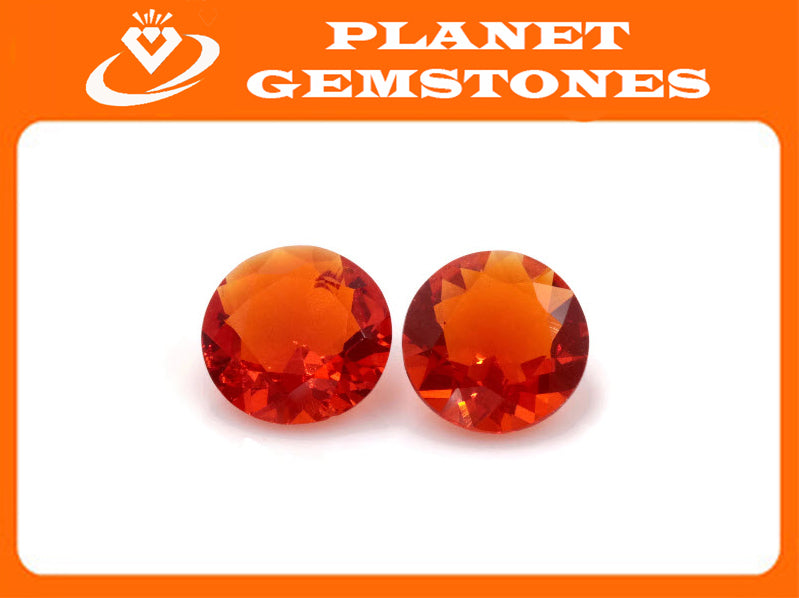 Natural Fire Opal Mexican Fire Opal October birthstone Orange Gemstone Fire Opal Gemstone Faceted Fire Opal, Faceted Round, 7mm, 2.62ct-Planet Gemstones