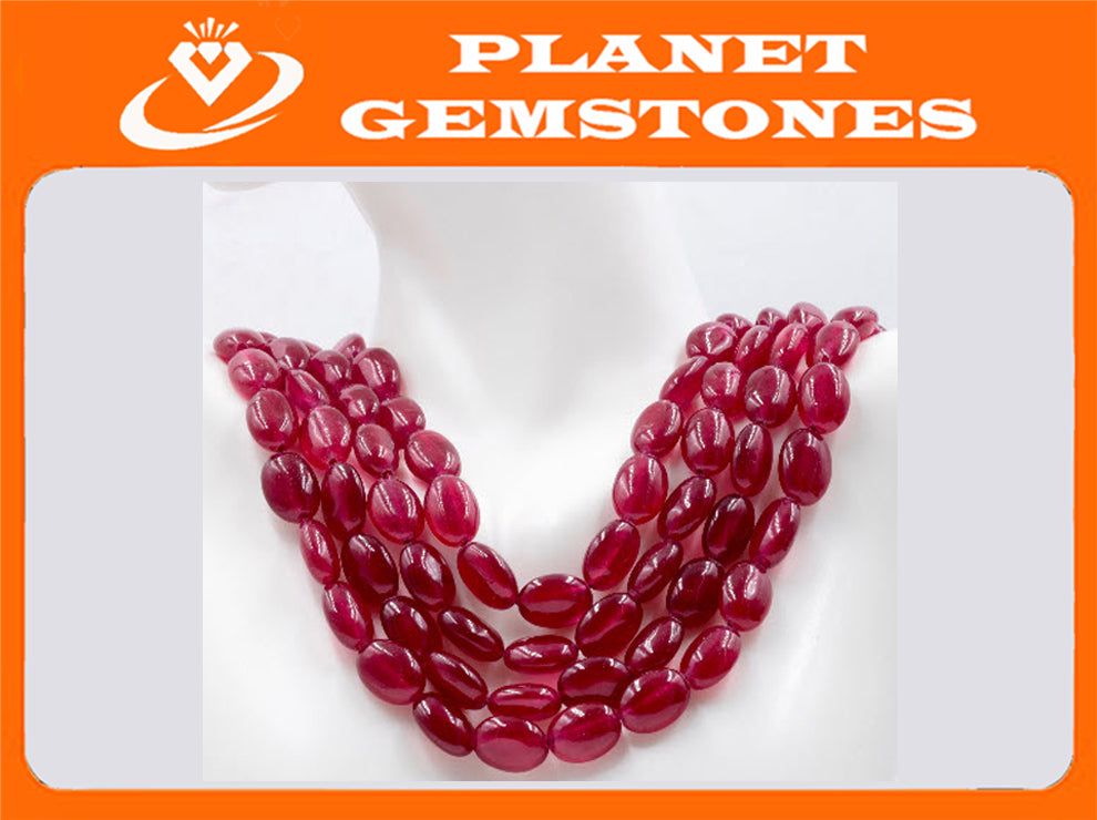 Genuine ruby beads Ruby bead necklace ruby gemstone beads ruby fuchsite beads necklace for women ruby necklace SKU: 113265-Ruby-Planet Gemstones