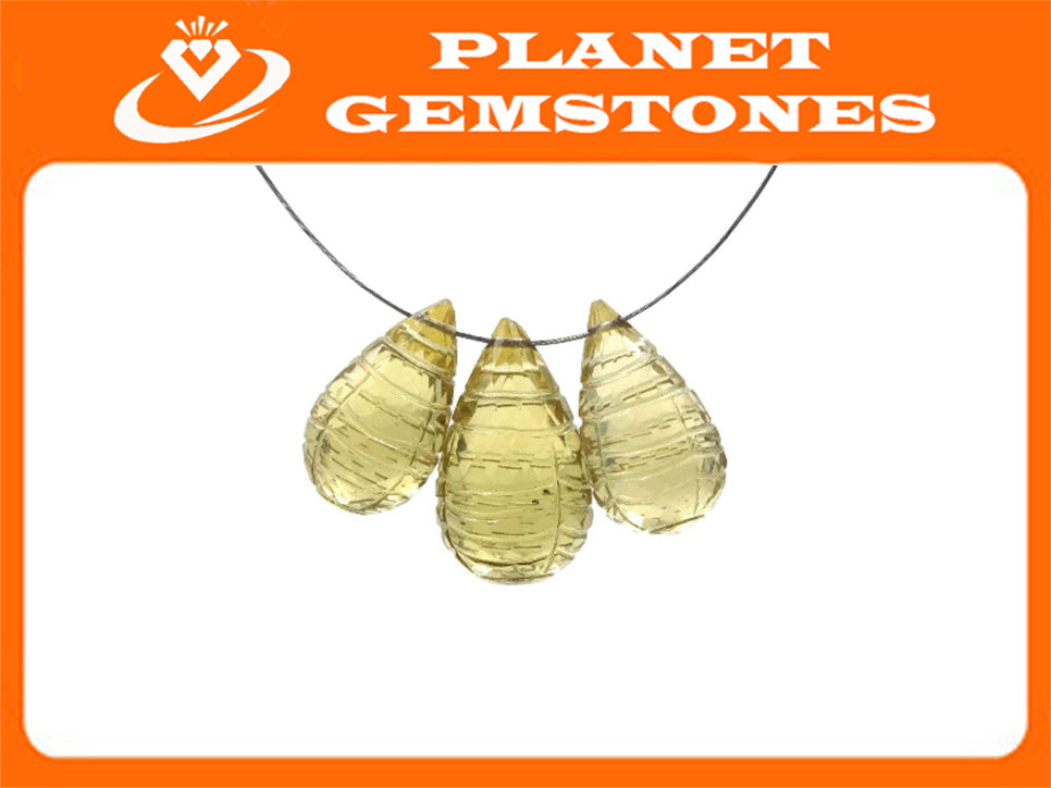 Natural Quartz DIY Jewelry Supply Green Apple Quartz Lemon quartz Beads Plain Quartz Apple Quartz Apple Quartz Carved 9x15mm 8x14mm 18.79ct-Planet Gemstones